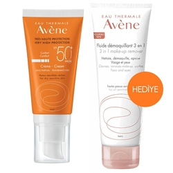 avene - AVENE SPF50+ CREAM 50 ML 3İN1 MAKE UP REMOVER 100 ML